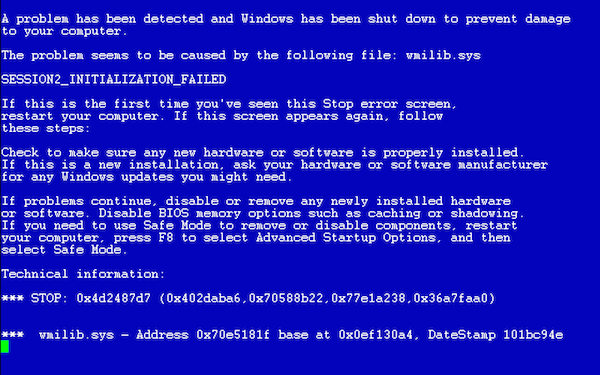 Синий экран смерти Windows XP/2003/Vista/7
